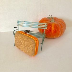 MMS Design Studio Pumpkin Orange Cork Clutch